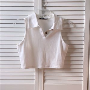 ribbed collar crop top with buttons